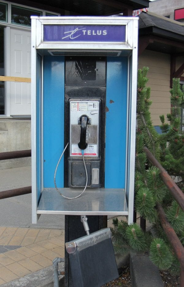 a derelict landline phone that nobody is using