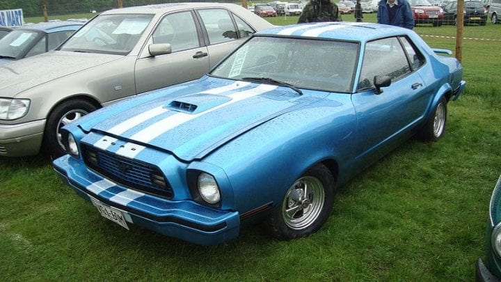a blue mustang from 1974