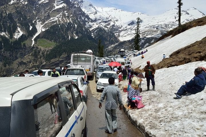 a traffic jam on a snowy road in nepal