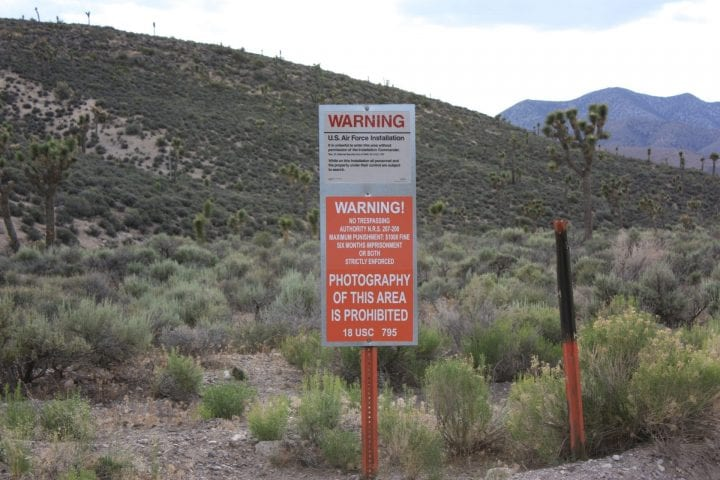 a warning sign at area 51