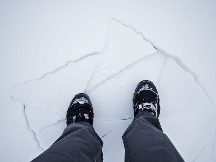 Cracked snow under foot