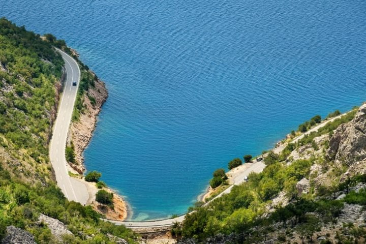 Scenic coastal road under Velebit mountains on Dalmatian coast, Croatia