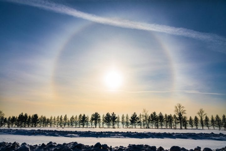 Halo around sun clouds