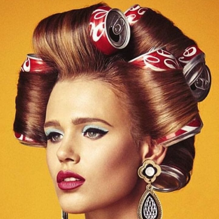 Woman with coke cans in her hair