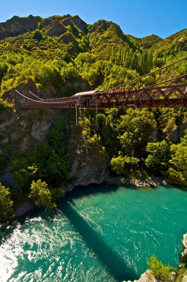 a bridge that people are bungie jumping off of