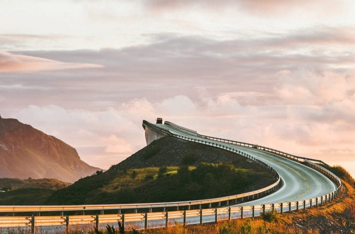 Atlantic road in Norway Storseisundet bridge over ocean way to clouds scandinavian travel landmarks