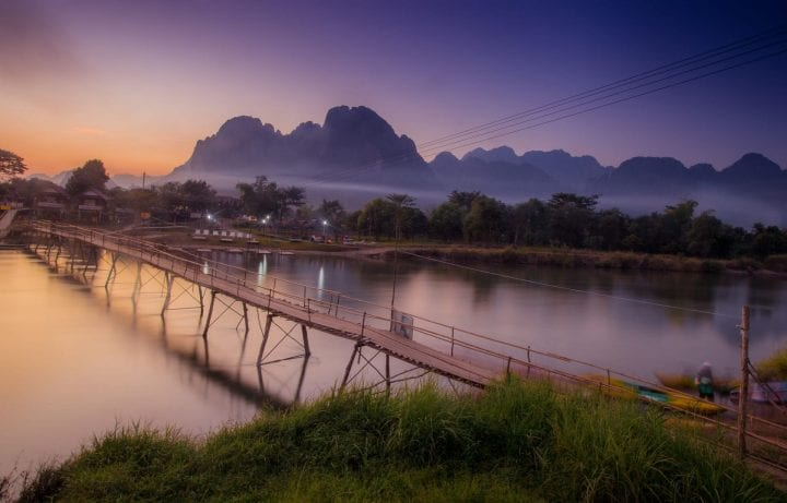 Sunset in the mountains of Vang Vieng, above the Mekong River - Laos.