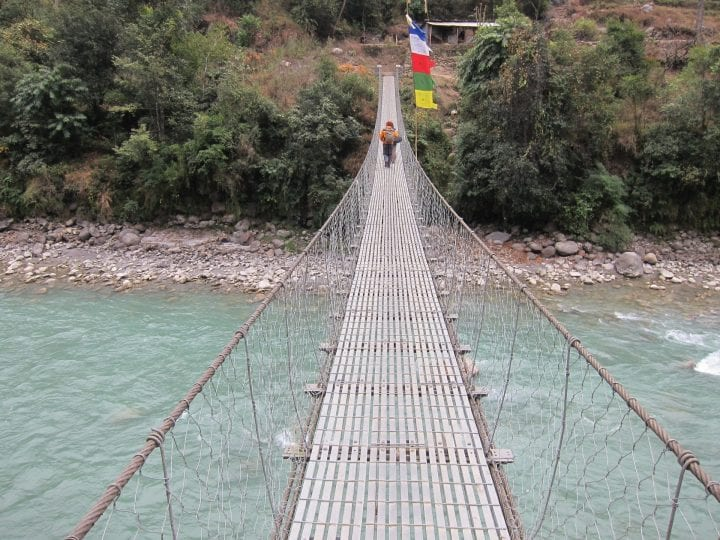 a suspension bridge that looks pretty sketchy