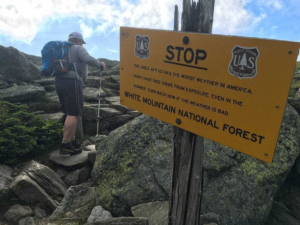 a sign describing the bad weather at mount washington