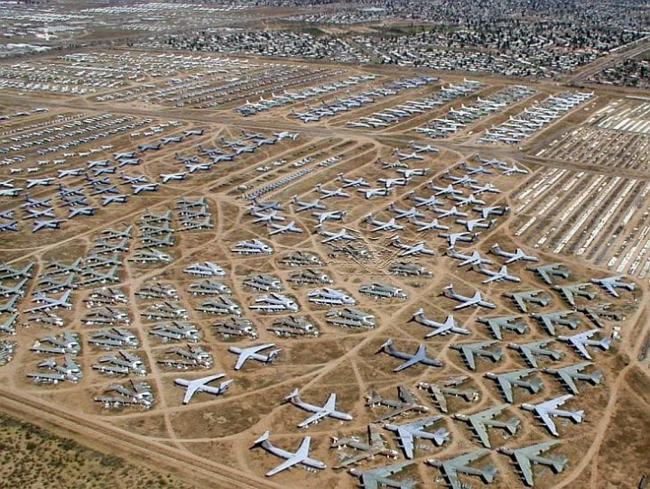 a plane graveyard from the above