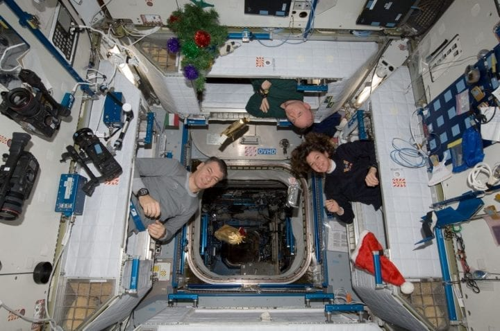 Astronauts space station floating zero gravity