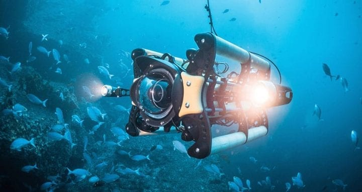 an ROV in the water