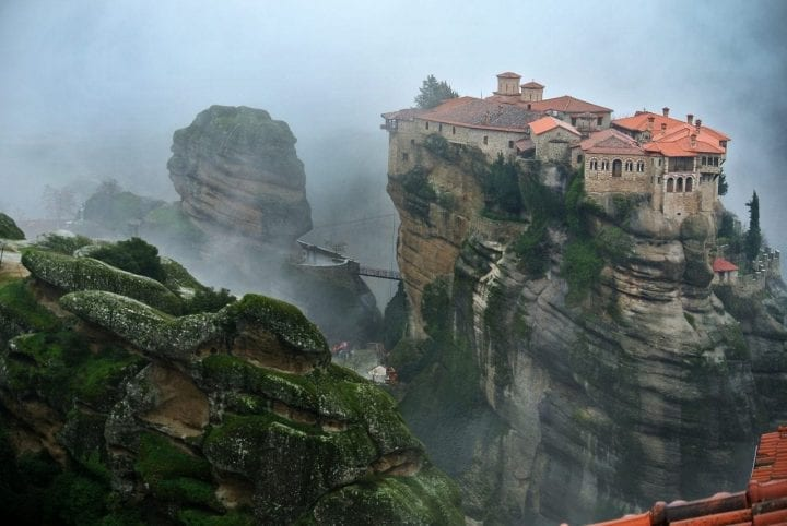 Meteora monasteries dangerous cliff