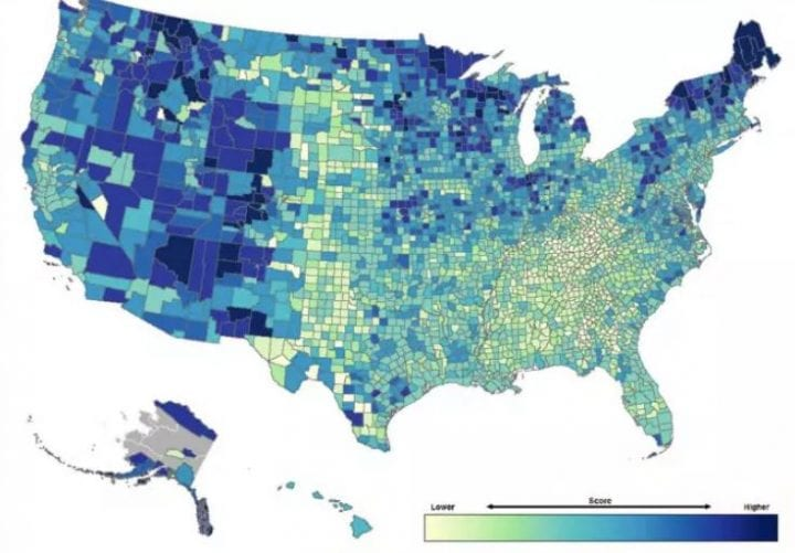 USA county map climate change resilience