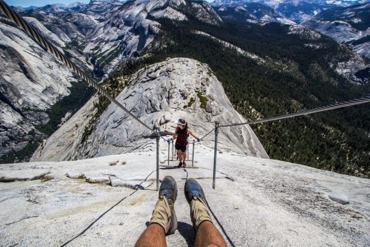 hiking half dome in yosemite
