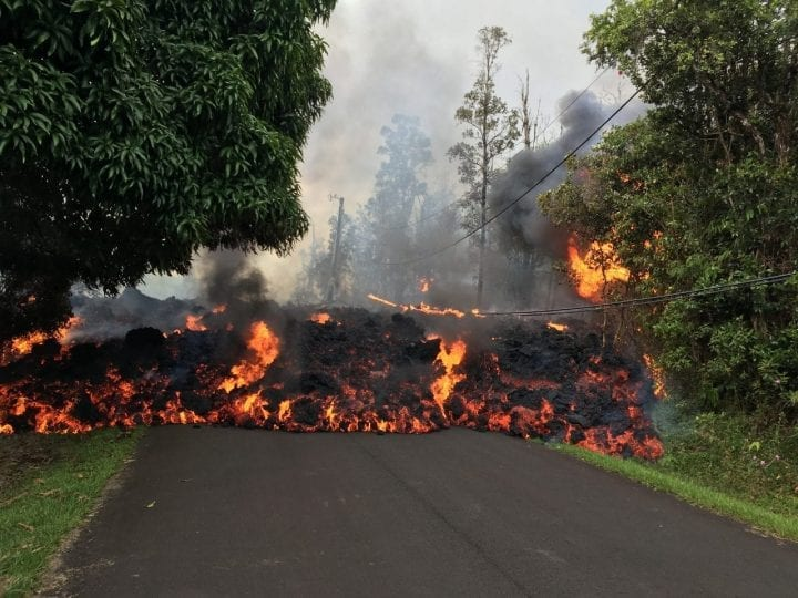 magma flowing down the road