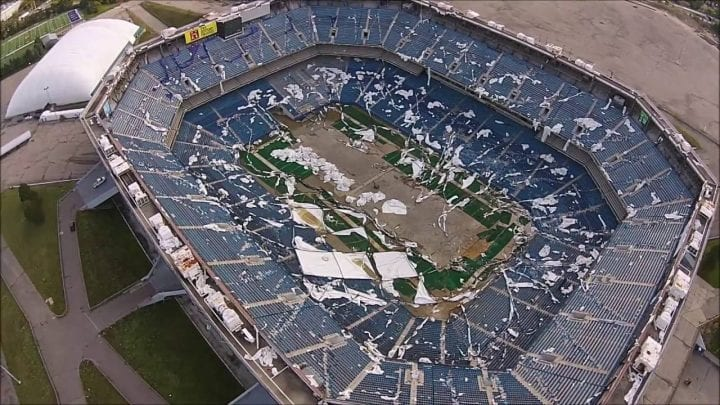 trashed stadium from above