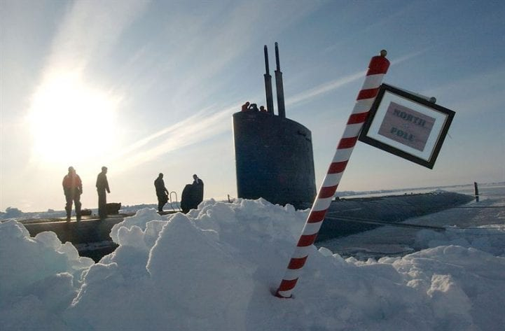 A submarine surfaced at the North Pole