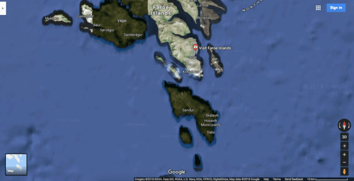 an image of the faroe islands from google maps