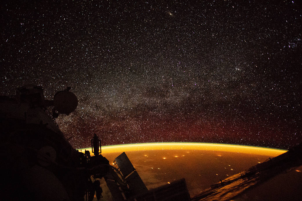 Earth afterglow ISS NASA photos