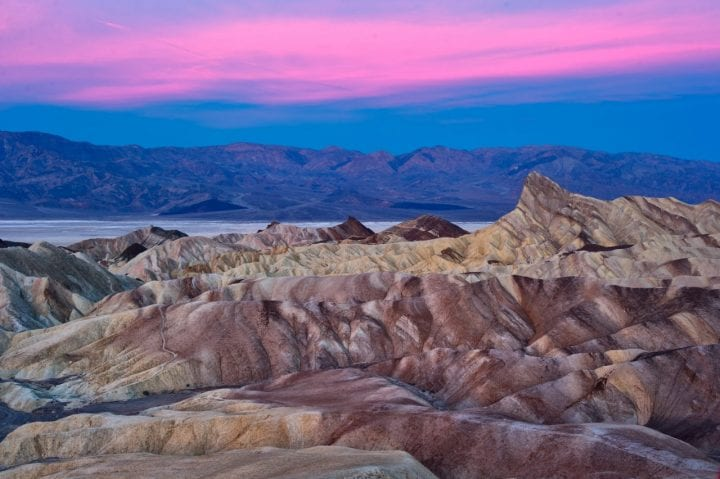 pink sunset over the death valley mountains