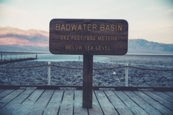badwater basin with water in the park