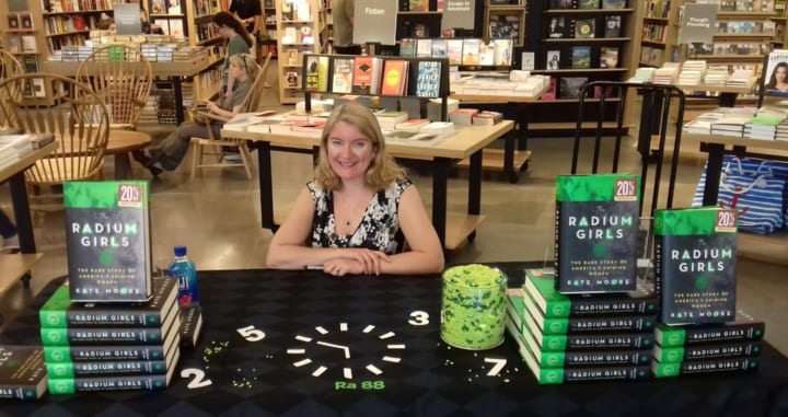 Kate Moore with radium girls book