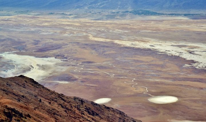 water in death valley from above