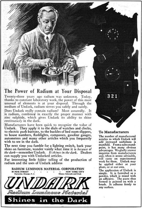 Radium girls advertisement