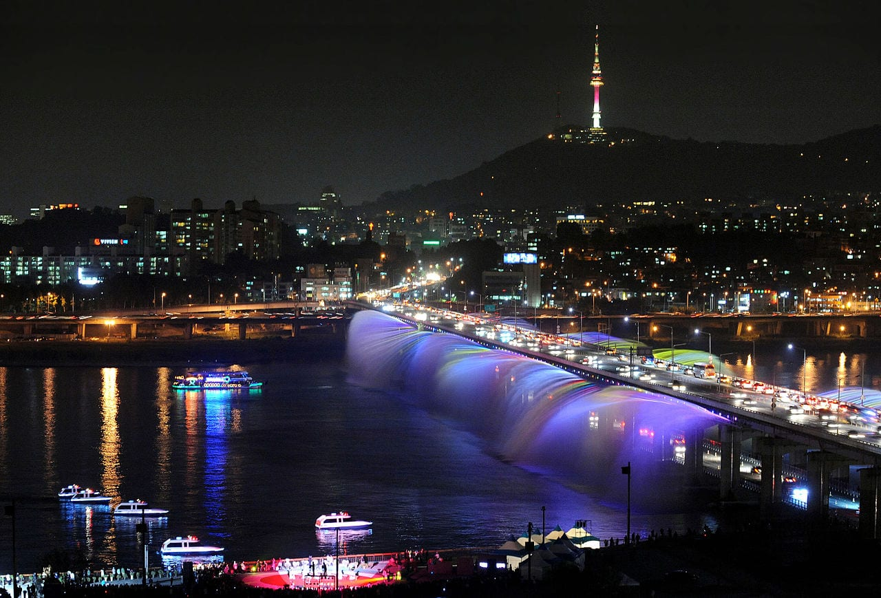 Banpo bridge south korea water fountain