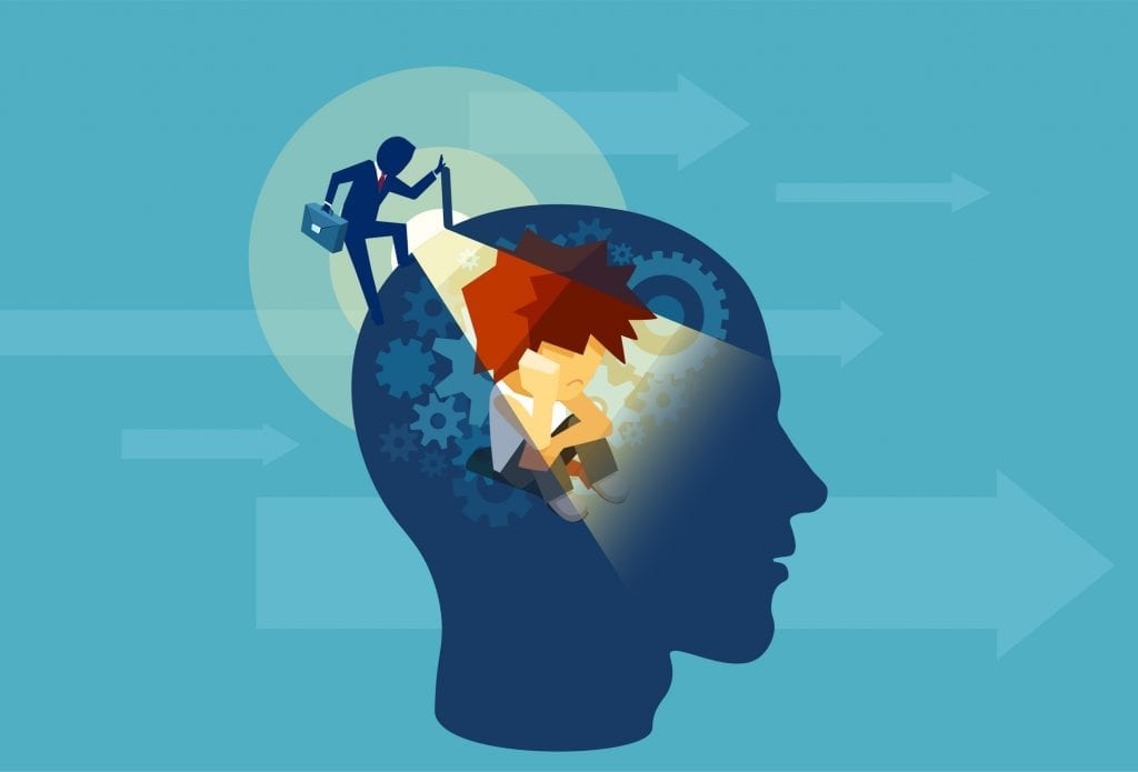 Illustration of an business adult man opening a human head with a child subconscious mind sitting inside