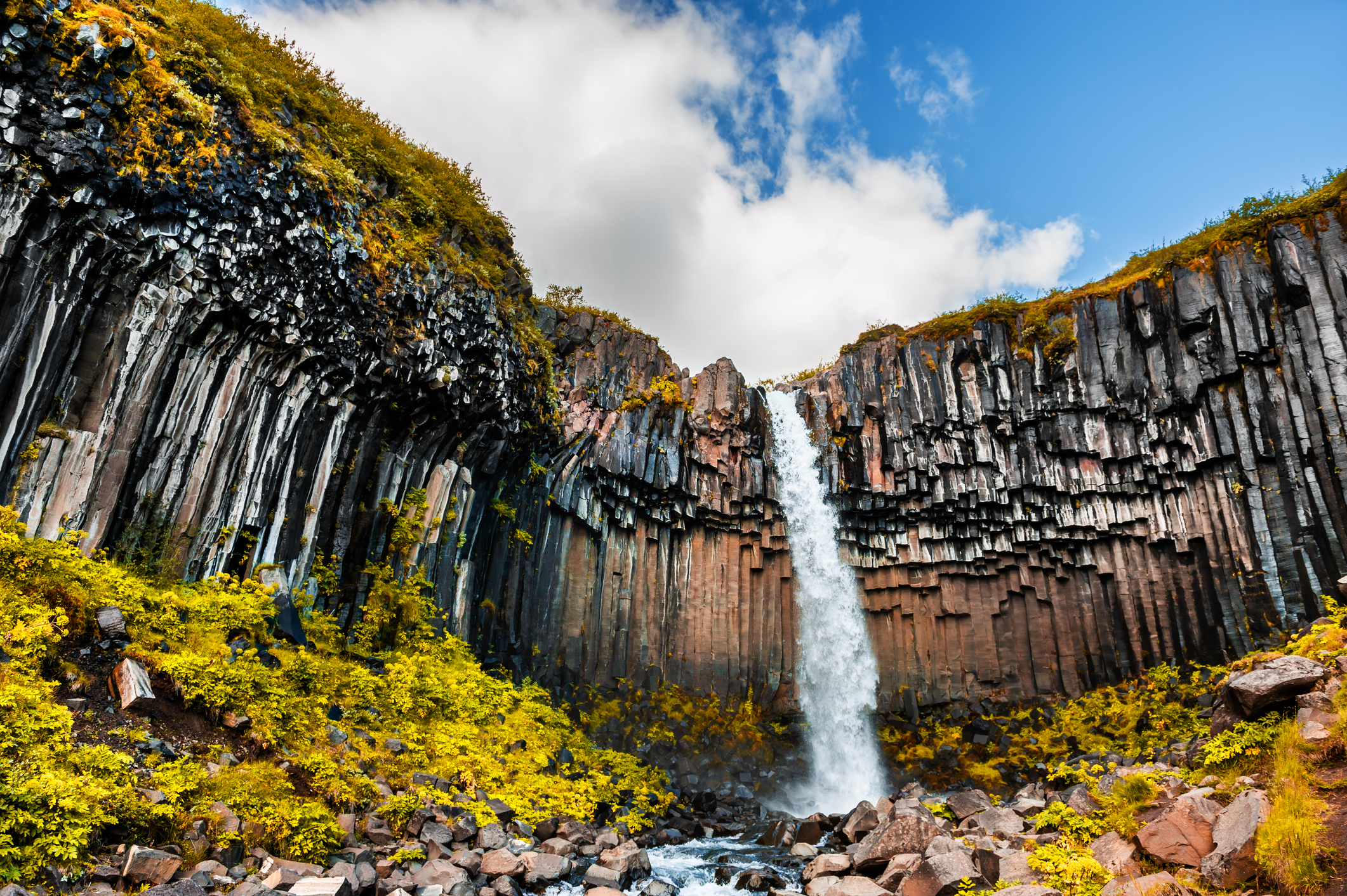 Svartifoss waterfall in Skaftafell national park, southern Iceland. Beautiful autumn landscape