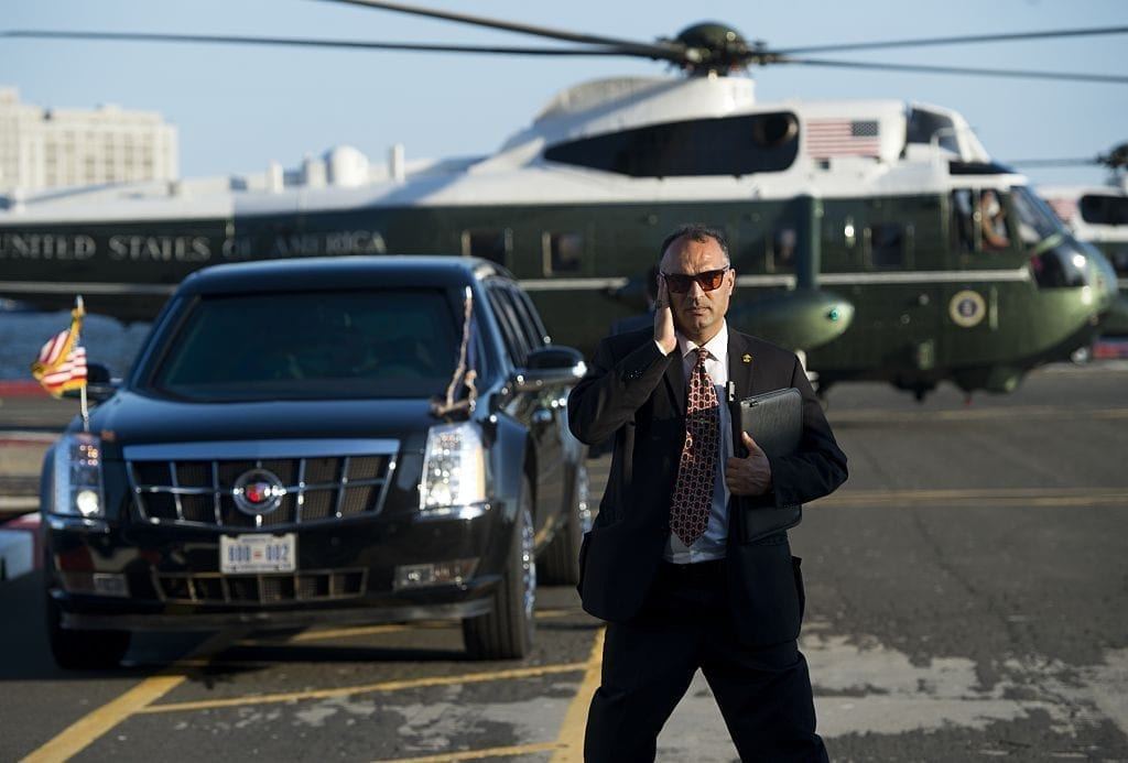 The presidential limo, Marine One, and a secret service agent