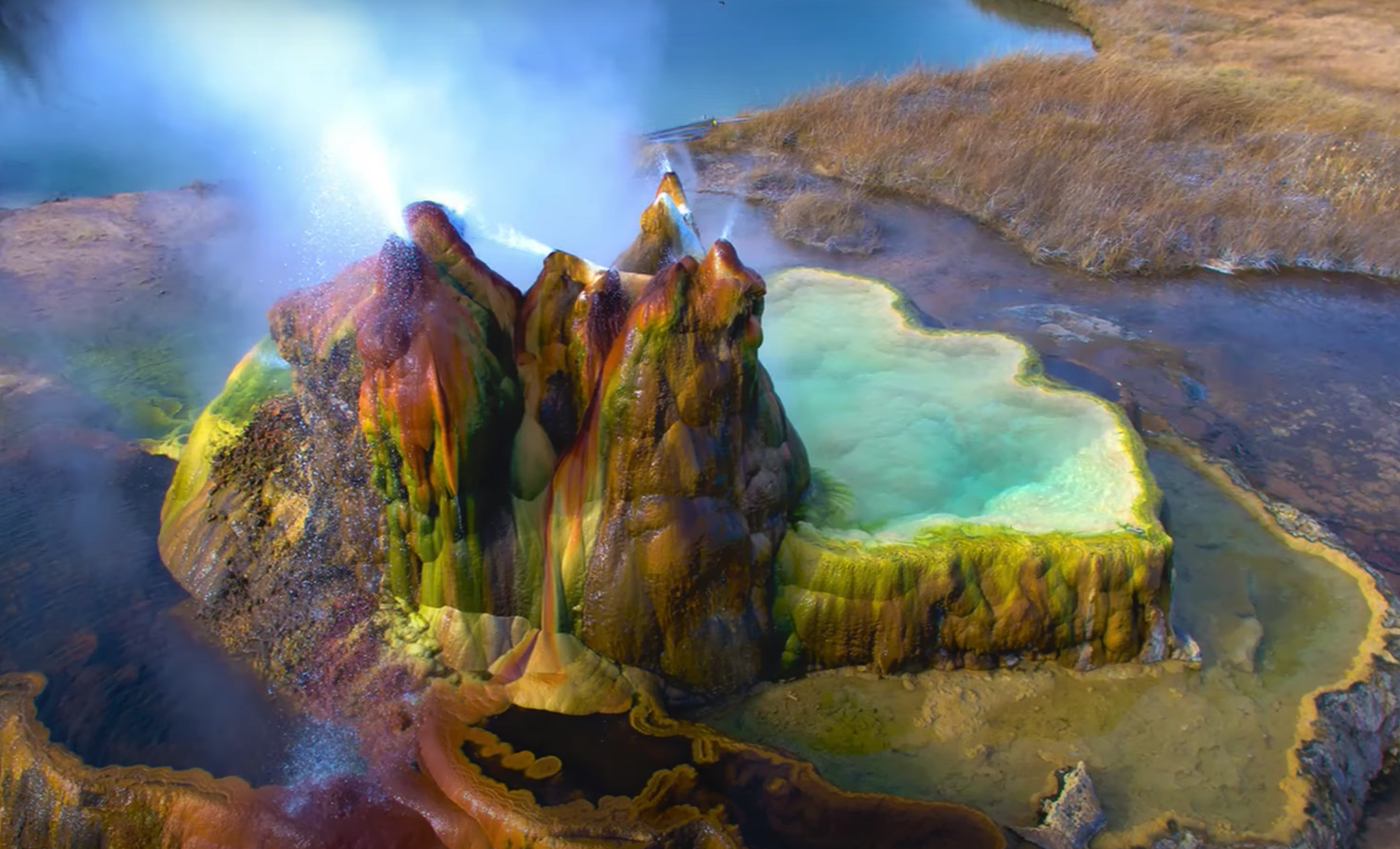 ariel view of Fly Geyser