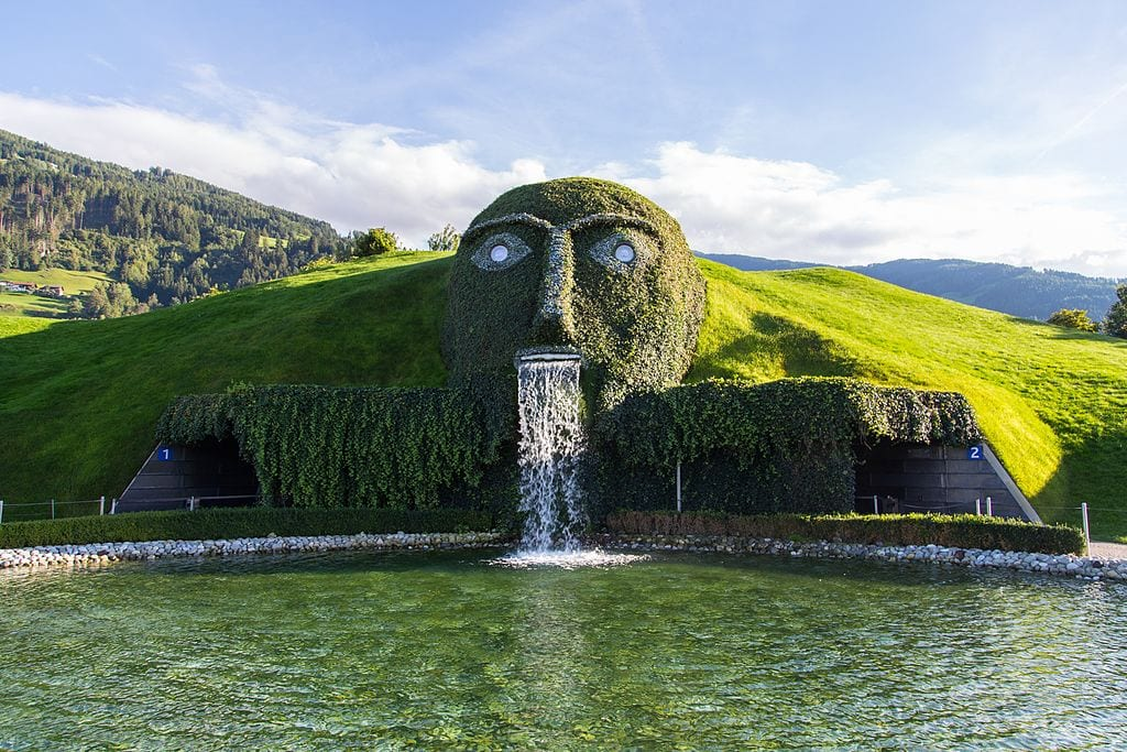 Giant water fountain Wattens Austria