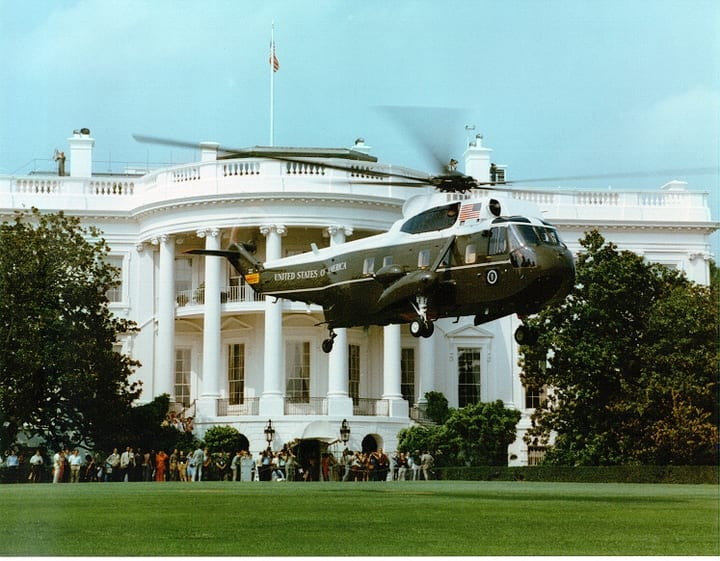 Marine One hovering in front of the White House