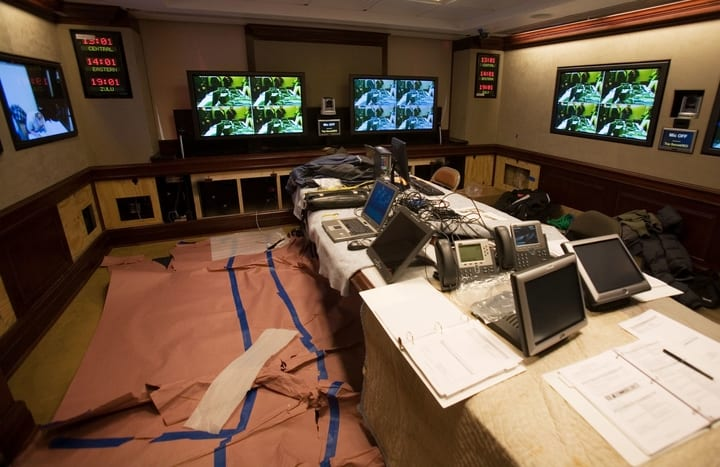 Touchscreen devices, televisions, phones, and laptops in the Situation Room