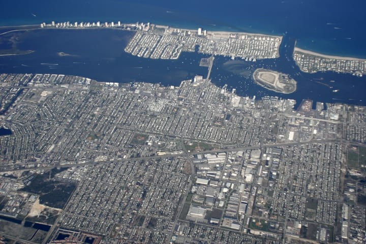 "Aerial picture of Peanut Island where ""Detachment Hotel"" is located"