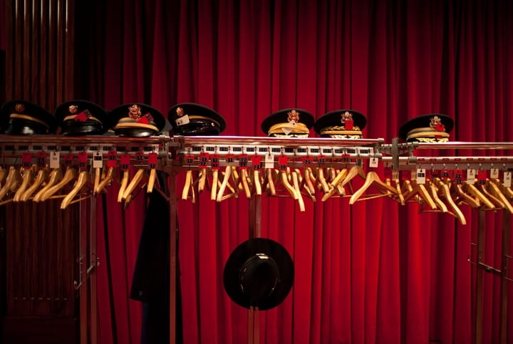 Hats in the closet at the White House Theater