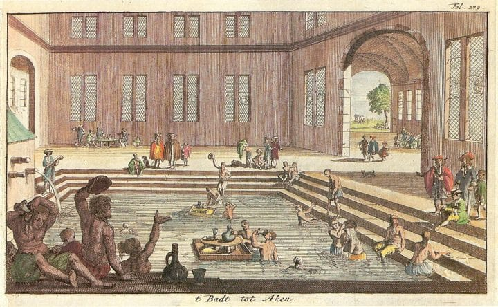 Painting of a communal bath house