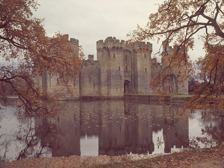 Bodiam Castle, a moated castle in East Sussex, England, circa 1965.