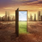 Found new world with green environment from open wooden door against cityscape background