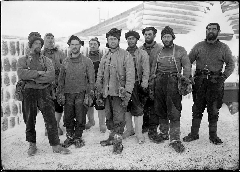Captain Robert Falcon Scott (1868 - 1912) and eight other expedition members at camp in the Ross Dependency of Antarctica, during Scott's Terra Nova Expedition to the Antarctic, April 1911. They have just returned from the Southern Party's exploratary expedition. (