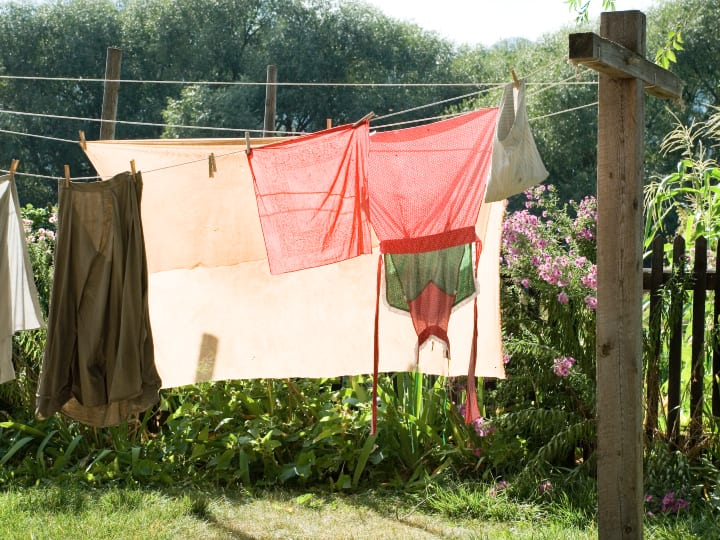 Hanging laundry, laundry soaked in urine