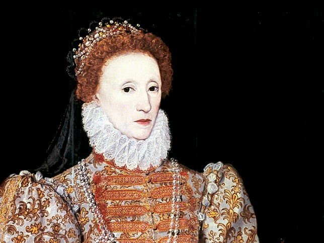 Portrait of Queen Elizabeth I. Pale makeup was all the rage.