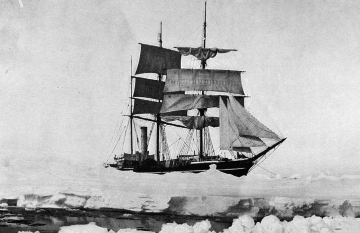 The Terra Nova navigating the icy Antarctic waters