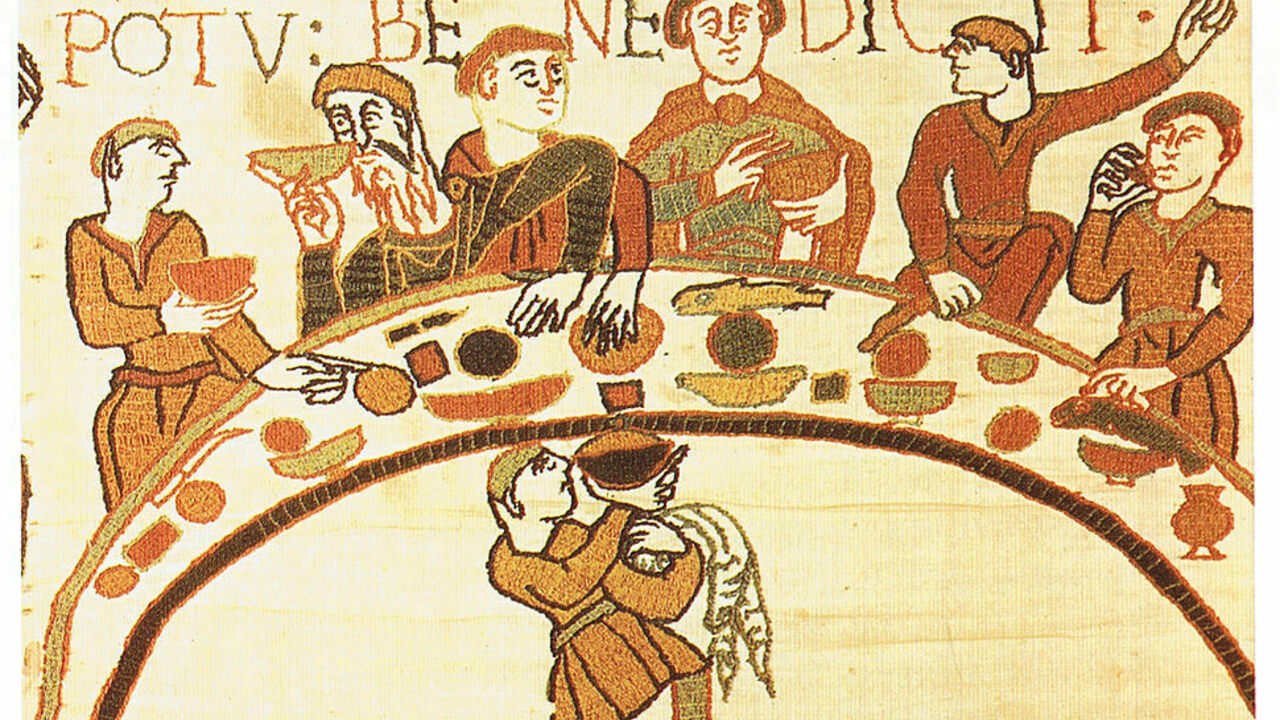 The Bayeux Tapestry scene depicting medieval people ate with their hands