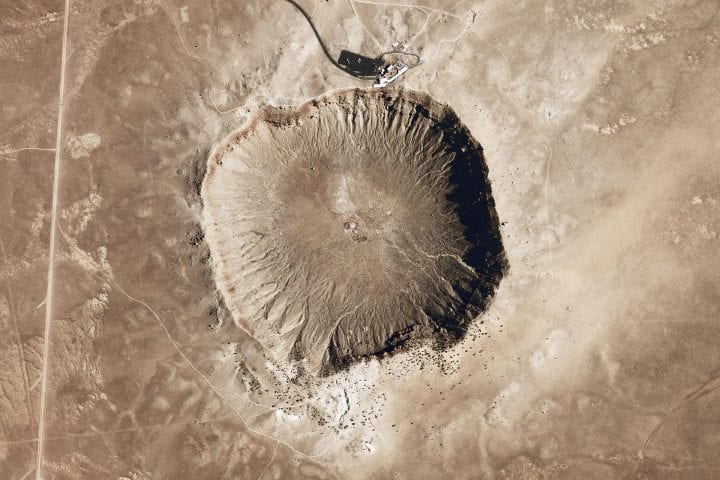 a dry-looking impact crater