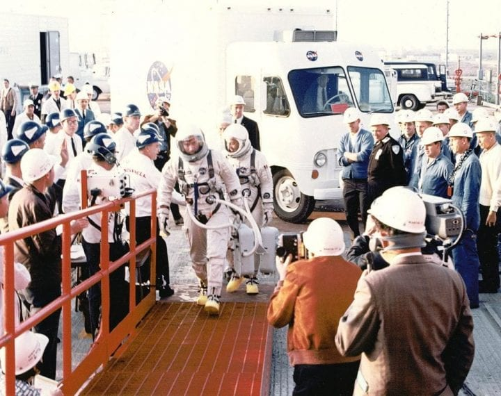 Gemini 3 crew walk out NASA weird sent to space