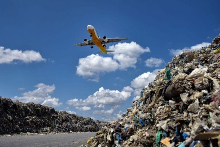 A plane on a descent through a garbage landfill on April 16, 2018 in Manila, Philippines. The Philippines has been ranked third on the list of the world's top-five plastic polluter into the ocean